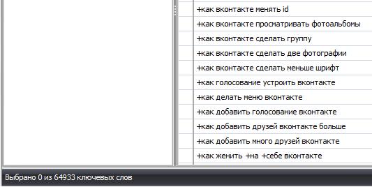 количество ключевиков вконтакте